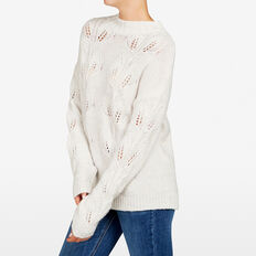 LEAF POINTELLE KNIT  OATMEAL MARLE  hi-res