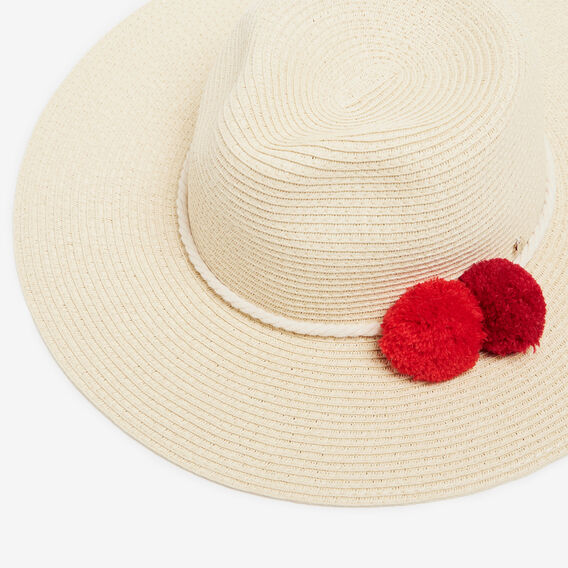 DOUBLE POM WIDE BRIM HAT  MULTI  hi-res