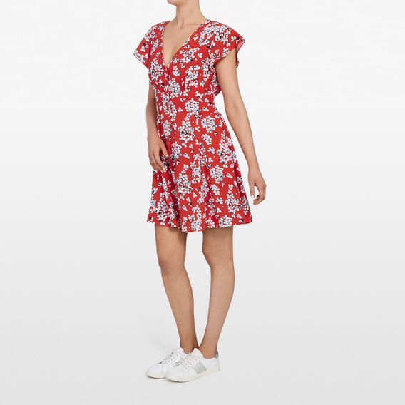 MICRO FLORAL TEA DRESS  RED/MULTI  hi-res
