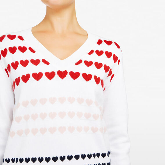INTARSIA MULTI HEART KNIT  SUMMER WHITE/MULTI  hi-res