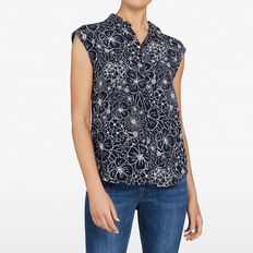 BEACH FLORAL SLEEVELESS SHIRT  NOCTURNAL/SUMMER WHI  hi-res