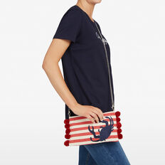 CRAB CLUTCH  NATURAL/RED/NAVY  hi-res