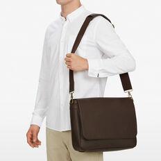 LEATHER LOOK MESSENGER BAG  CHOCOLATE  hi-res