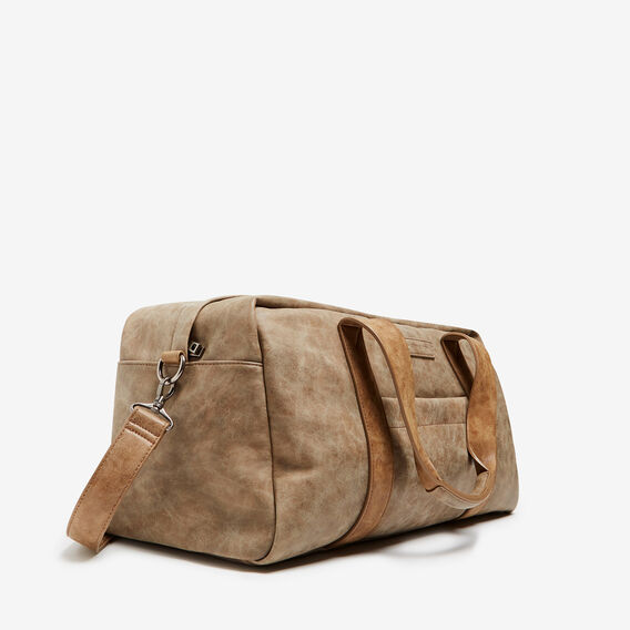 LEATHER LOOK DUFFLE BAG  VINTAGE BROWN  hi-res