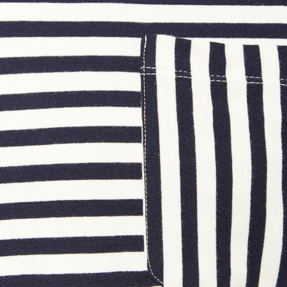 STRIPE TEXTURED LONG SLEEVE T-SHIRT  NAVY/ECRU  hi-res