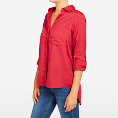 ESSENTIAL BUTTON THROUGH SHIRT  RED  hi-res