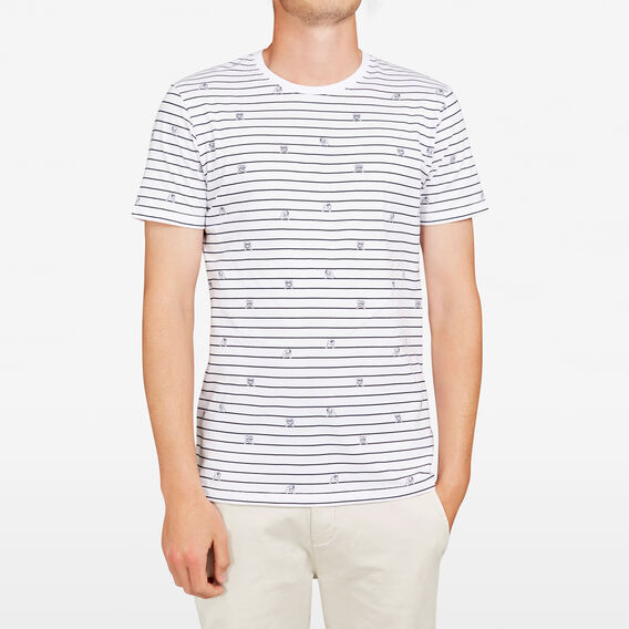STRIPE DOG CREW NECK T-SHIRT  WHITE  hi-res