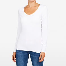 HAYLEY LONG SLEEVE SCOOP NECK  WHITE  hi-res