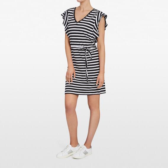 STRIPE FRILL SLEEVE DRESS  BLACK/ SUMMER WHITE  hi-res