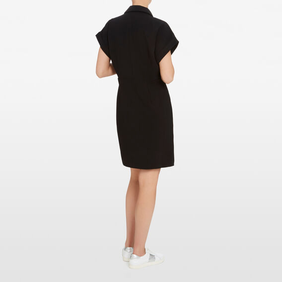 BUTTON DOWN WRAP DRESS  BLACK  hi-res