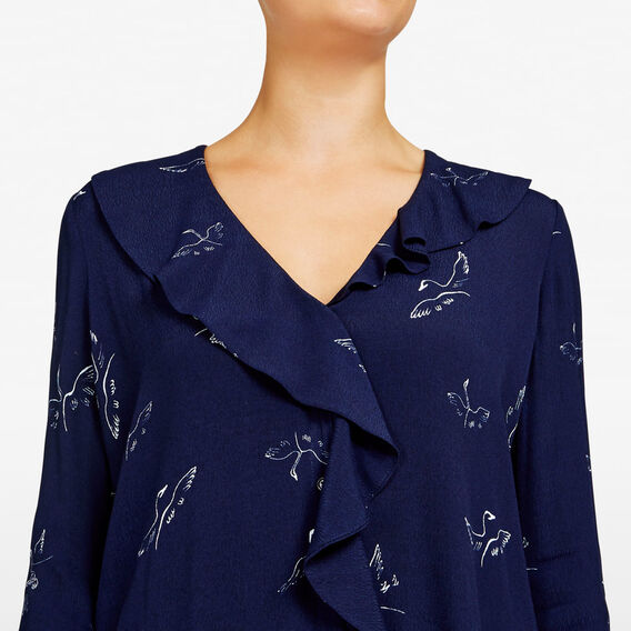 RUFFLE FRONT SKETCH BIRD SHIRT  NOCTURNAL/SUMMER WHI  hi-res