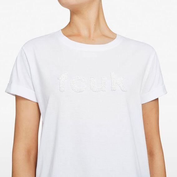 FCUK BEADED TEE  SUMMER WHITE/BLACK  hi-res