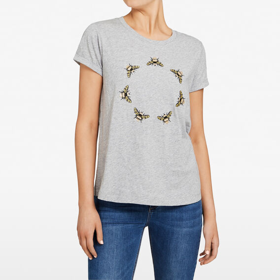 EMBELLISHED CIRCLE OF BEES  GREY MARLE/MULTI  hi-res