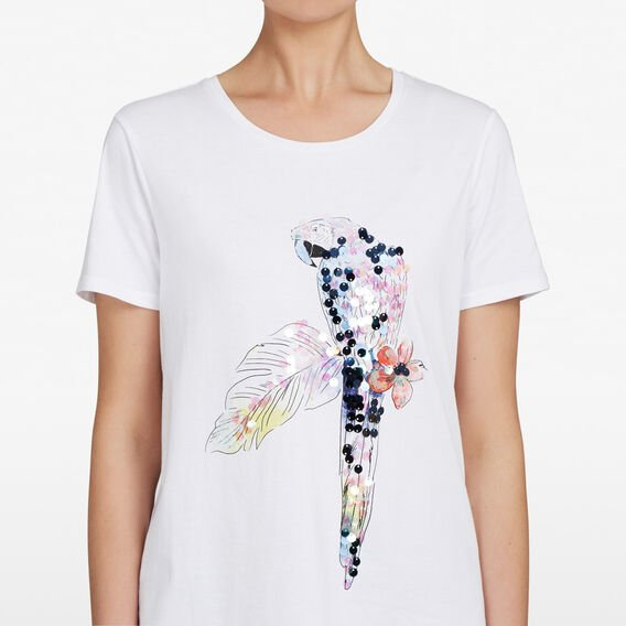 TROPICAL PARADISE BIRD TEE  SUMMER WHITE/GREEN  hi-res