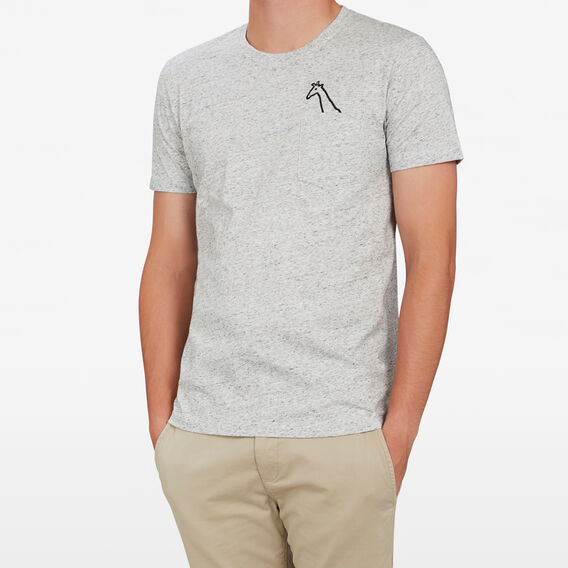 GIRAFFE CHEST EMBROIDERY T-SHIRT  GREY MARLE SPECKLE  hi-res