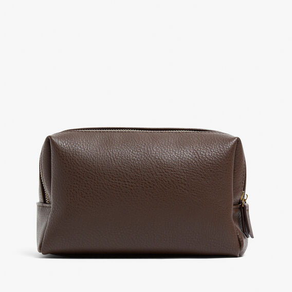 LEATHER LOOK WASH BAG  CHOCOLATE  hi-res