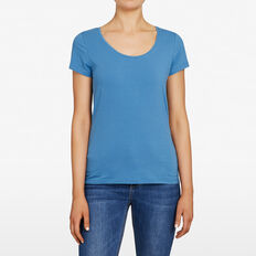 HAYLEY STRETCH SCOOP NECK TEE  BRIGHT BLUE  hi-res