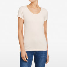 HAYLEY STRETCH SCOOP NECK TEE  PASTEL PINK  hi-res