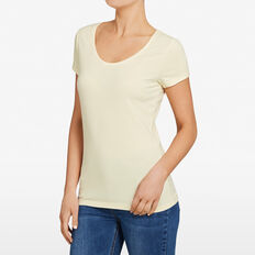 HAYLEY STRETCH SCOOP NECK TEE  SUNSHINE YELLOW  hi-res