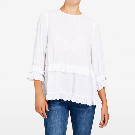 DOBBY PEASANT BLOUSE  SUMMER WHITE  hi-res