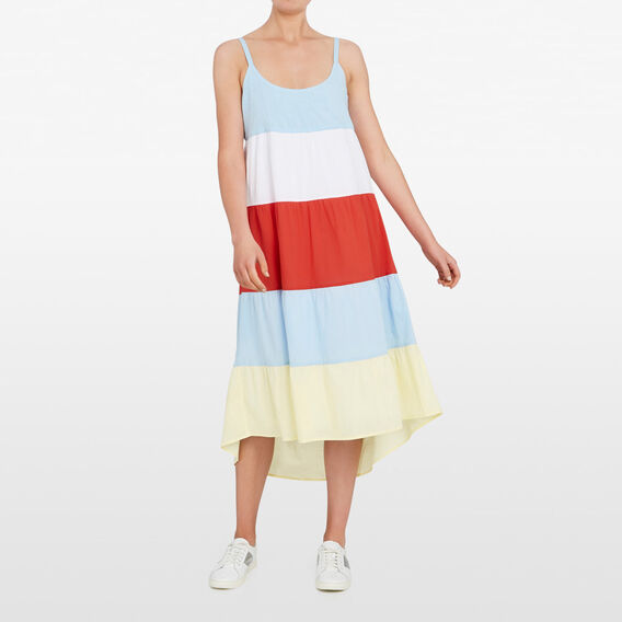 BLOCK STRIPE MAXI DRESS  MULTI  hi-res