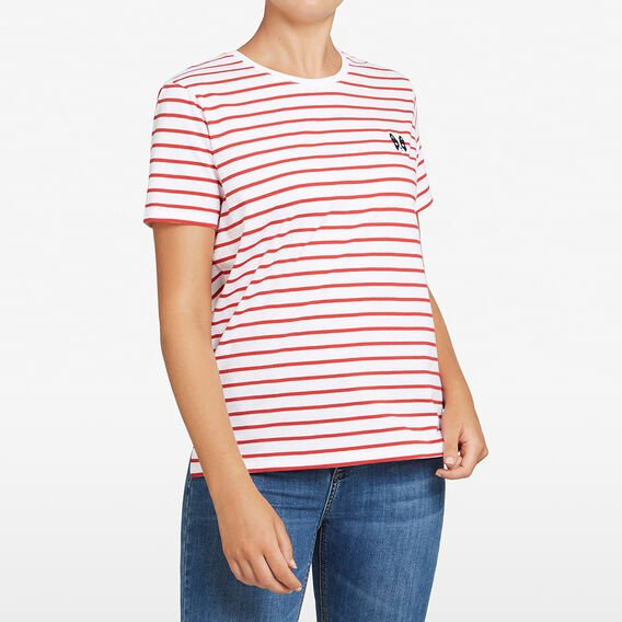 STRIPE EMBROIDERED DOG TEE  RED/OFFWHITE/BLACK  hi-res