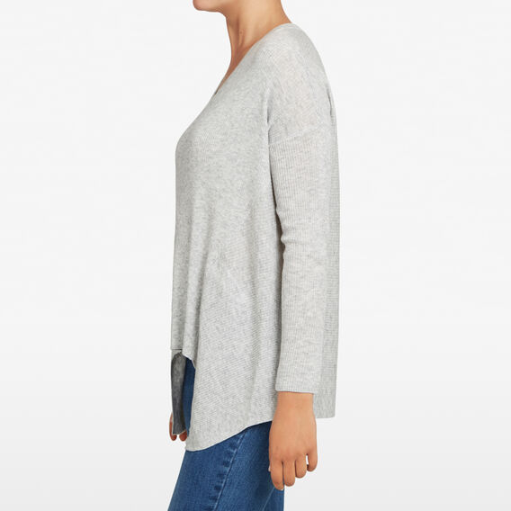 V NECK SLOUCHY KNIT  GREY MARLE  hi-res