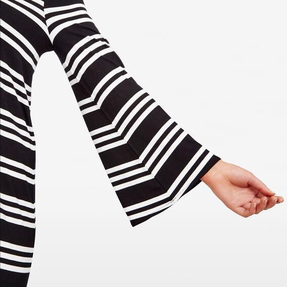 STRIPE BELL SLEEVE DRESS  BLACK/SUMMER WHITE  hi-res