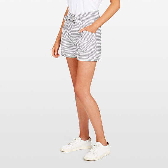 STRIPE BELTED SHORT  SUMMER WHITE/BLACK  hi-res