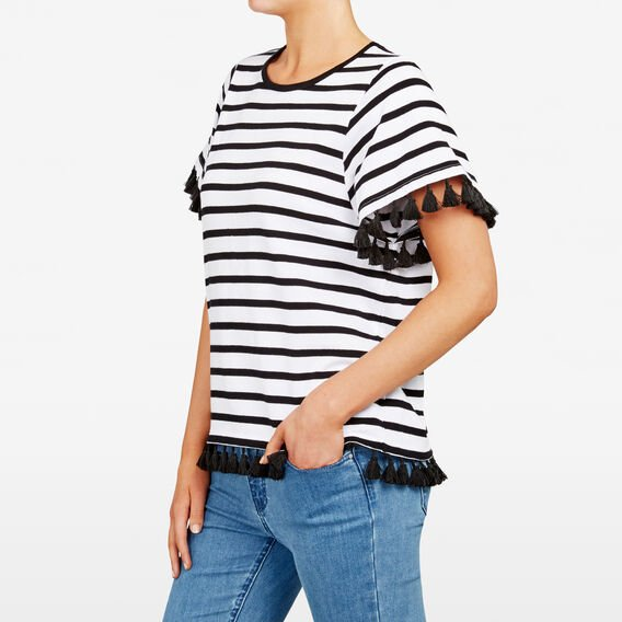 STRIPE TASSEL TEE  BLACK/SUMMER WHITE  hi-res