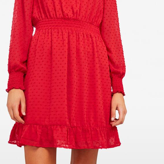 DOBBY MOCK NECK DRESS  RED  hi-res