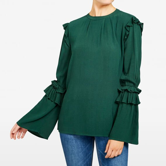 INTO THE FOREST FRILL SHIRT  FOREST GREEN  hi-res