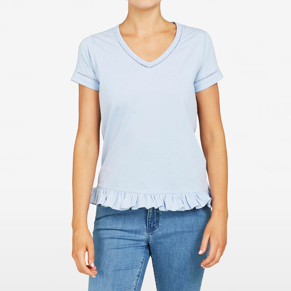 FRILL HEM TEE  LIGHT BLUE  hi-res