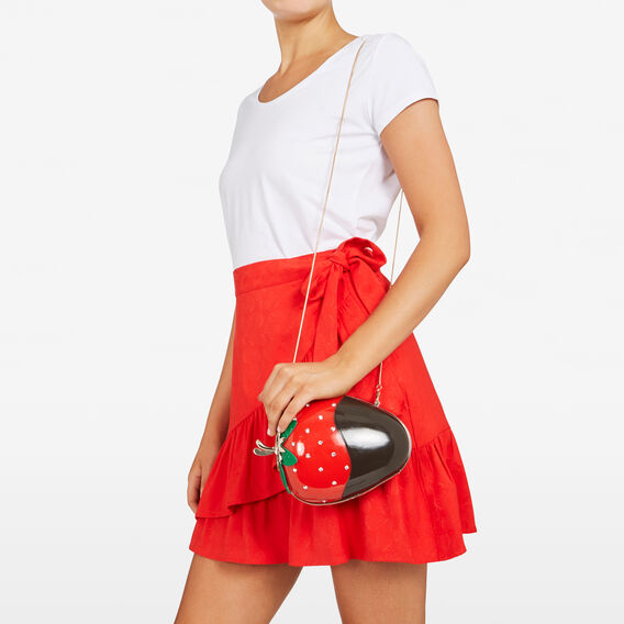 WILD STRAWBERRY CLUTCH  RED/BLACK  hi-res
