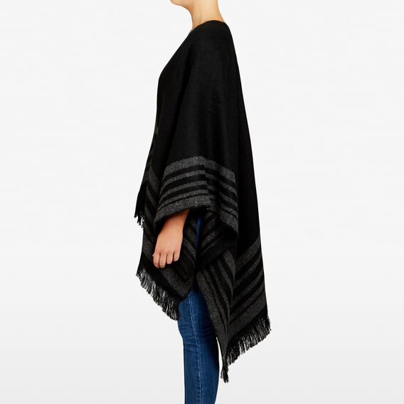 BLANKET PONCHO  BLACK/CHARCOAL  hi-res