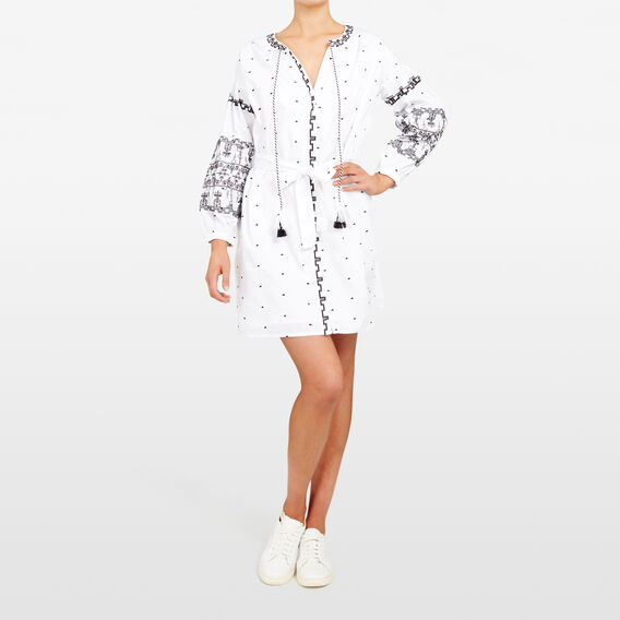 EMBROIDERED AZTEC DRESS  SUMMER WHITE/BLACK  hi-res