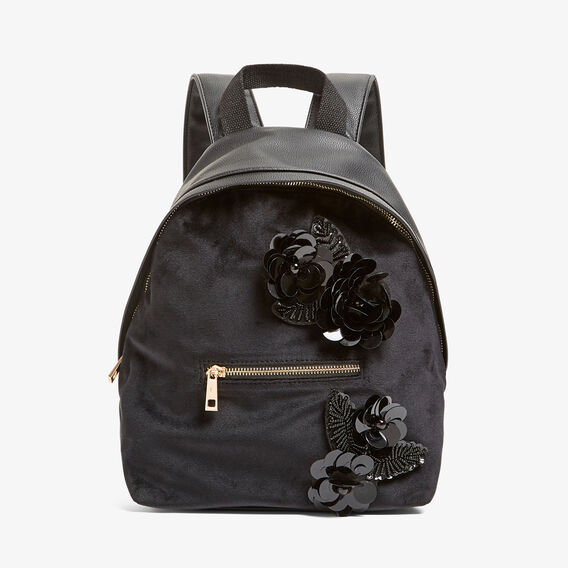FLORAL BEADED BACK PACK  BLACK  hi-res