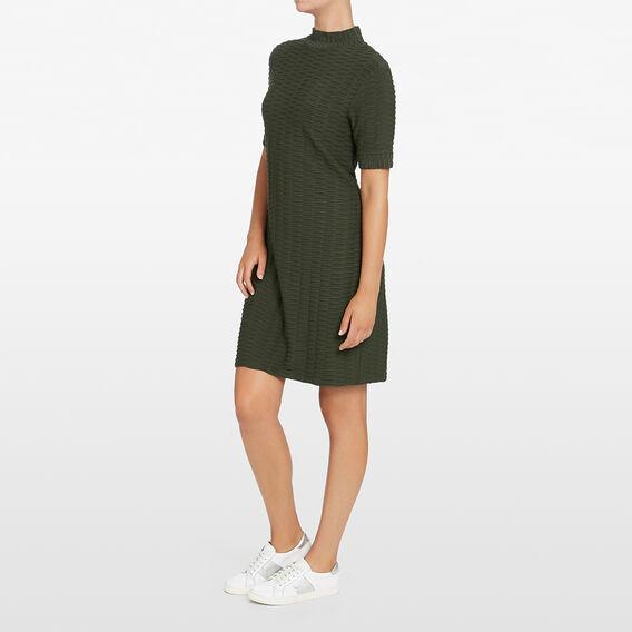 TEXTURED SHIFT DRESS  KHAKI  hi-res