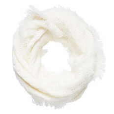 FRINGED CABLE SNOOD  WINTER WHITE  hi-res
