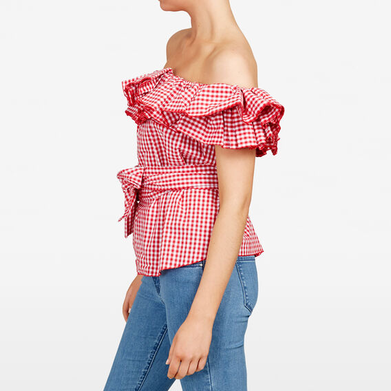 GINGHAM OFF SHOULDER RUFFLE SHIRT  SUMMER WHITE/RED  hi-res