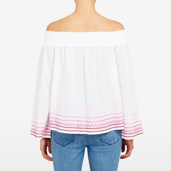 RICRAC OFF SHOULDER SHIRT  SUM WHITE/PINK MULTI  hi-res