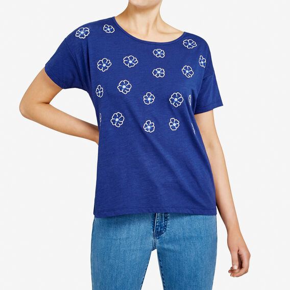 EMBROIDERED FLORAL TEE  ROYAL BLUE/SUMMER WH  hi-res