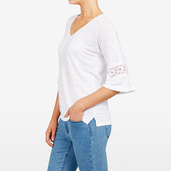 FLUTE SLEEVE LACE INSERT TEE  SUMMER WHITE  hi-res