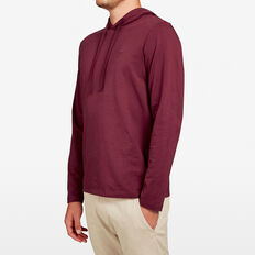 HOODED LONG SLEEVE PULL OVER  BURGUNDY  hi-res