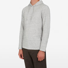 HOODED LONG SLEEVE PULL OVER  GREY MARLE SPECKLE  hi-res