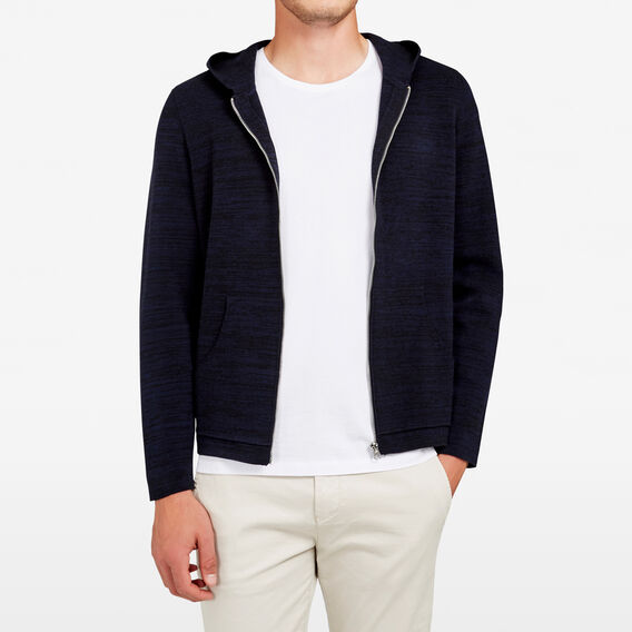 ZIP THROUGH KNIT HOODIE  MARINE BLUE MARLE  hi-res