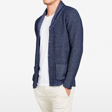 CHUNKY TEXTURED SHAWL NECK CARDIGAN  INDIGO  hi-res