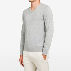 COTTON PORTRAIT V-NECK KNIT  GREY MARLE  hi-res