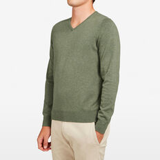 COTTON PORTRAIT V-NECK KNIT  OLIVE MARL  hi-res