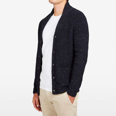 SPECKLE SHAWL NECK CARDIGAN  MARINE BLUE  hi-res